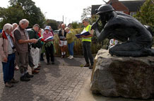 LIHS members by the miner's statue at Bagworth