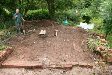 Califat colliery dig site, brick floor